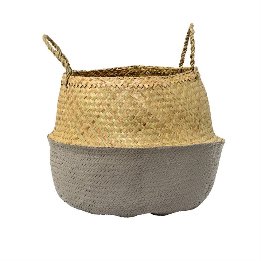 Collapsable Grey Seagrass Basket