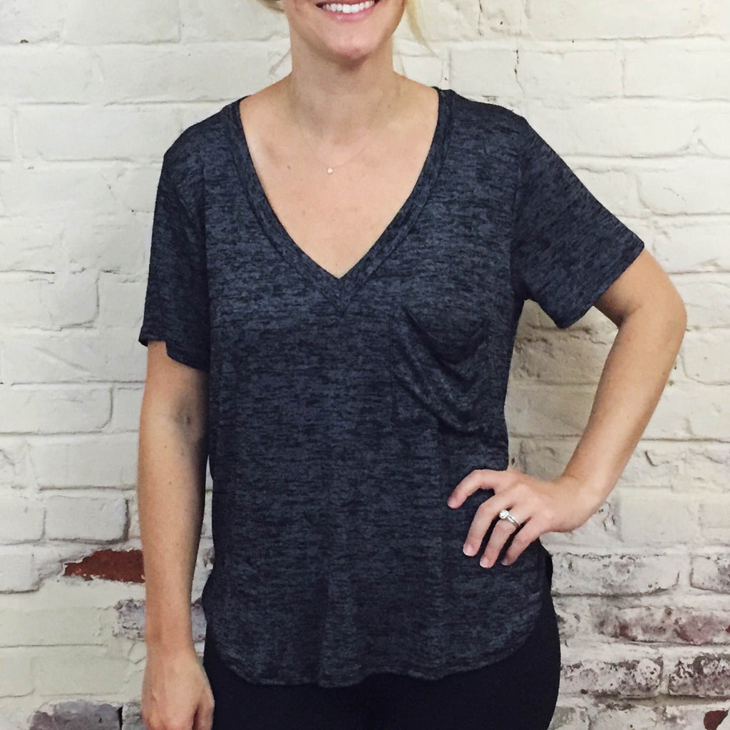 Heather Black Slouchy Pocket Tee