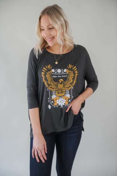 Higher than Heaven Eagle Graphic Dolman Tee
