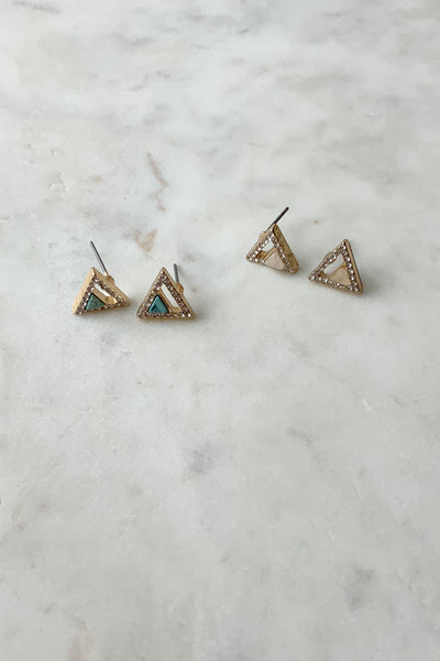 Gold Triangle Pave Studs
