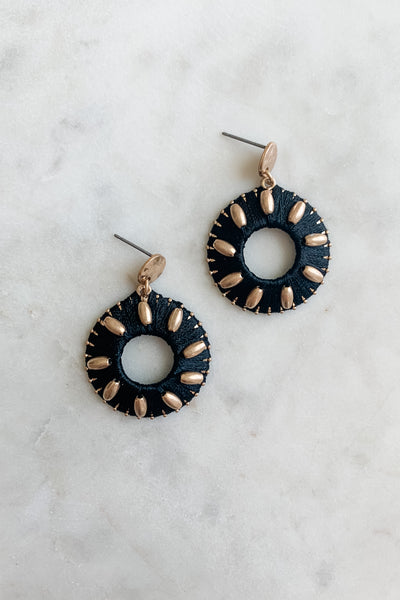 Black Leather Circle Gold Earrings