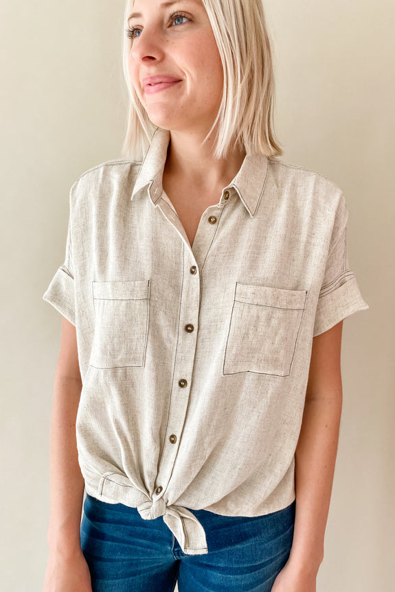 Oatmeal Hi-Low Button Up/Front Knot Top