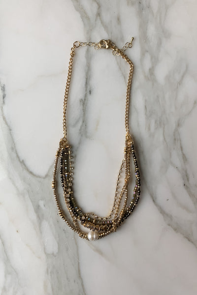 Multi Layer Gold Layer Statement Necklace