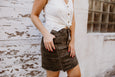 Olive Camo Front Zip Denim Skirt