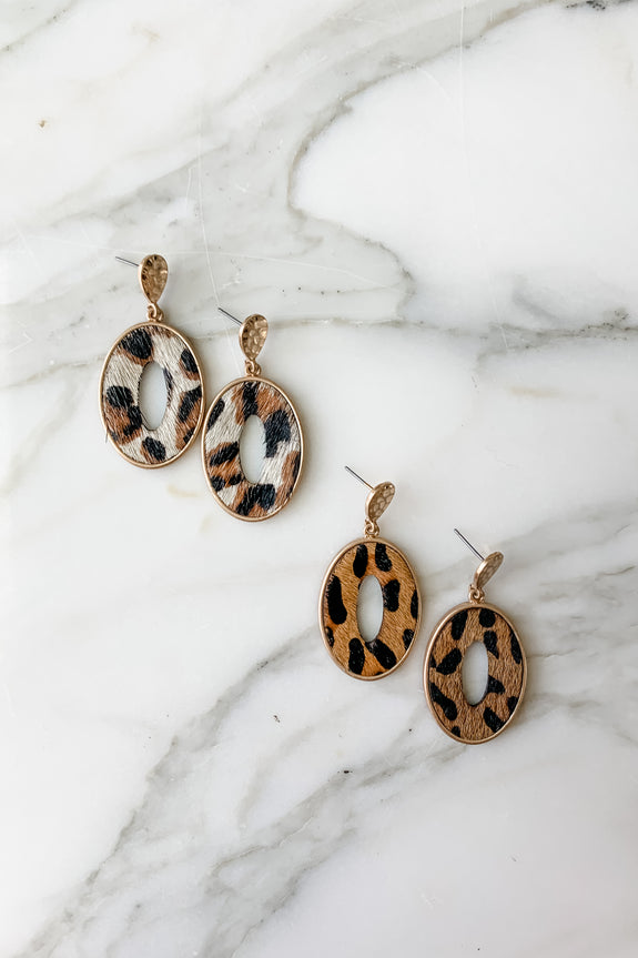 Calf Hair Oval Earrings