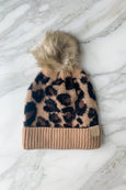 C.C. Kids Leopard Beanie with Faux Fur Pom