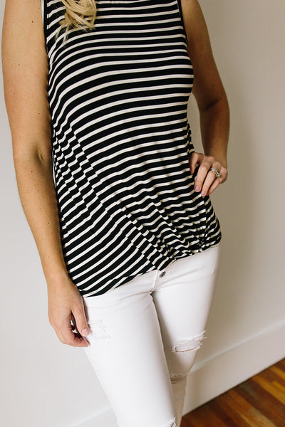 Megan Stripe Front Twist Tank