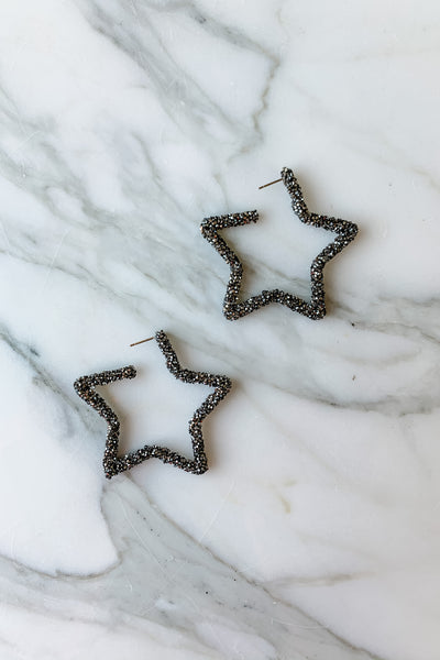 Glitter Encrusted Star Hoops