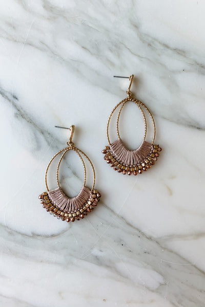 Threaded Oval Statement Earrings