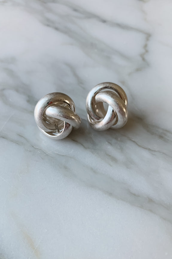 Worn Plated Knot Post Earrings