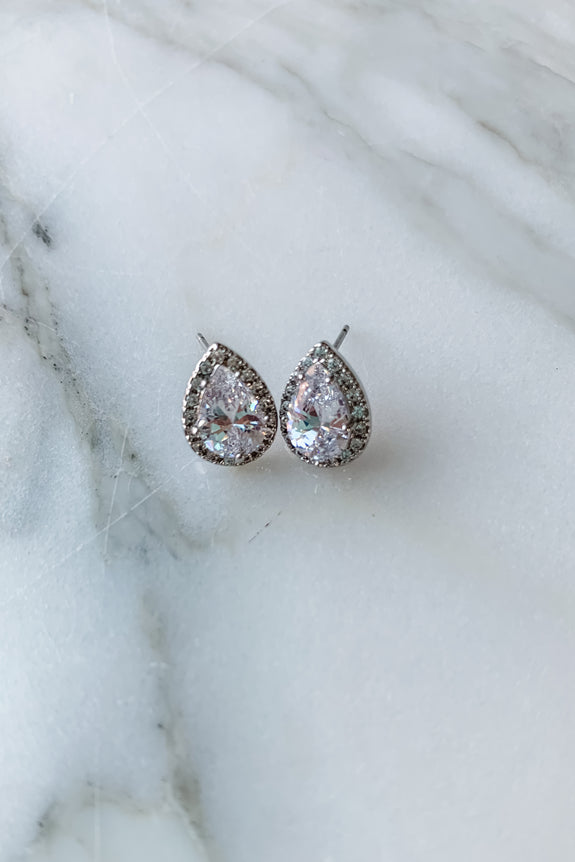 Pronged CZ Teardrop Post Earring