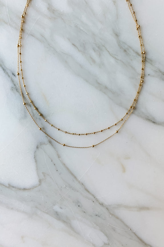 18K Gold Dipped Layered Dainty Necklace