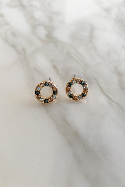 Donut Shaped Multi Crystal Pave Studs
