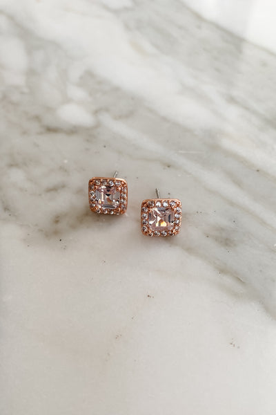 Crystal CZ Pave Square Stud Earrings