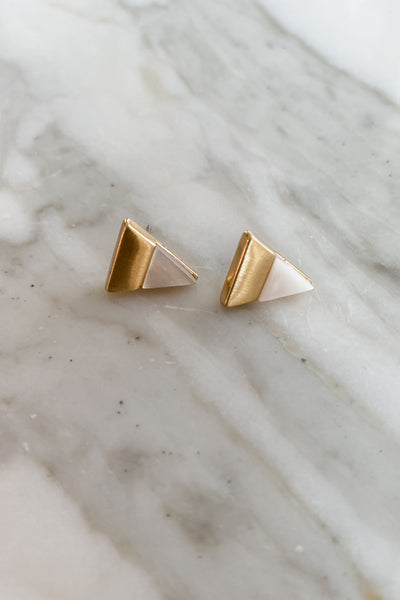 Natural Stone Triangle Stud Earrings