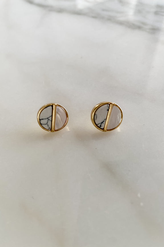 Round Split Button Stud Earrings
