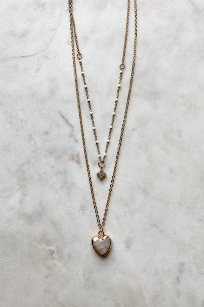 Pearl Heart Layered Necklace