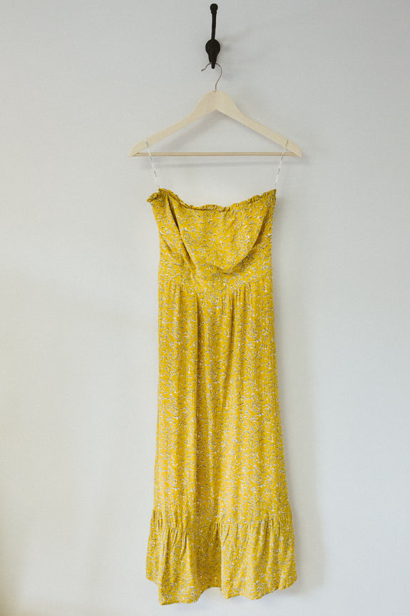 YELLOW FLORAL STRAPLESS DRESS