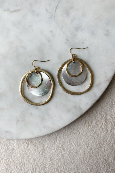 Two Tone Modern Hammered Nested Drop Earrings