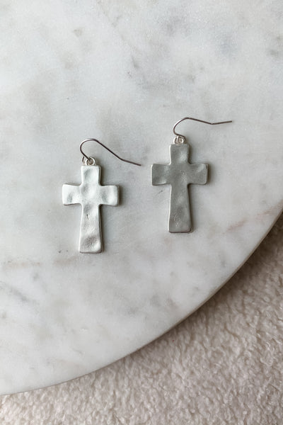 Matte Hammered Cross Drop Earrings