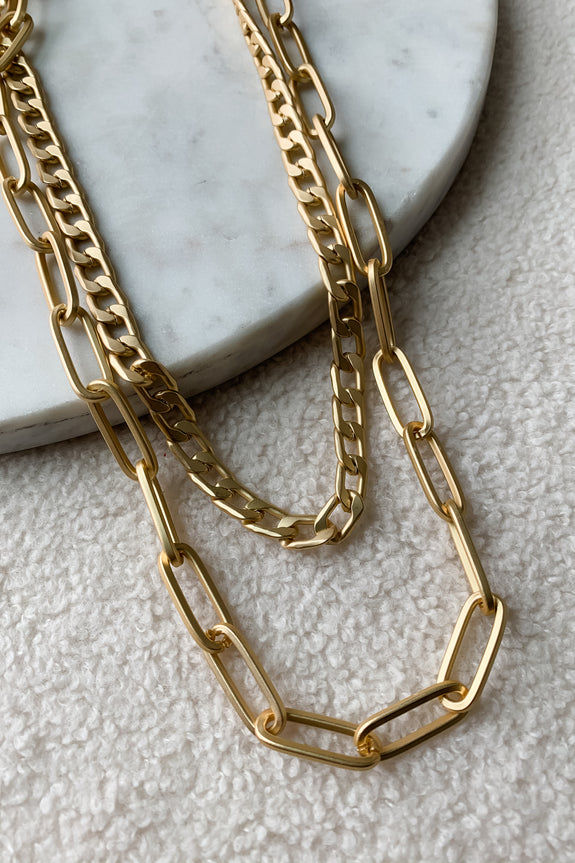 Matte Gold Link Layered Statement Necklace