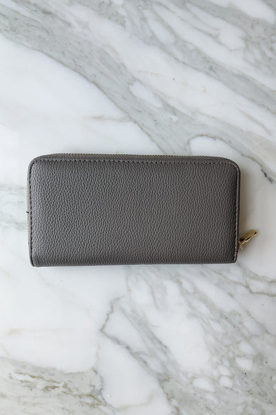 Solid Faux Leather Long Wallet