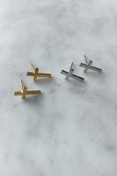 Gold Dipped Cross Stud Earrings