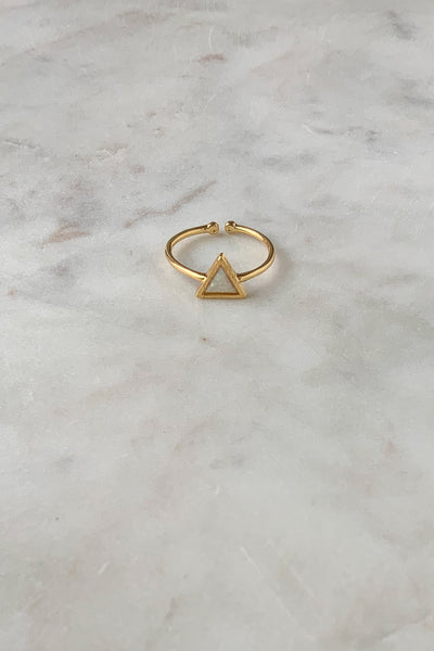 Opal Triangle Ring Gold