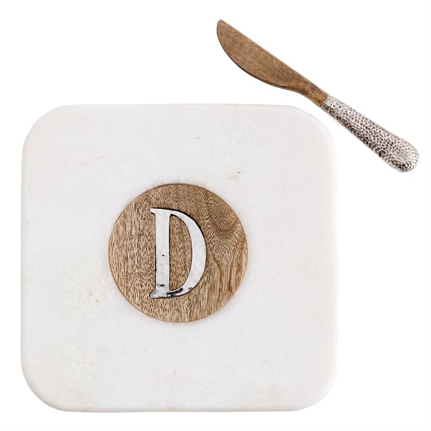 Marble & Wood Initial Cutting Board