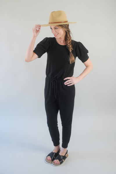 Leo Puff Sleeve Black Jumpsuit
