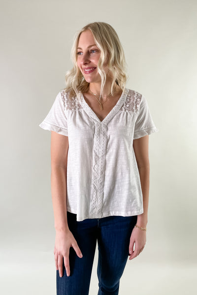 Lindy Lace Detail Short Sleeve Top