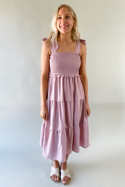 Maddy Mauve Smocked Dress