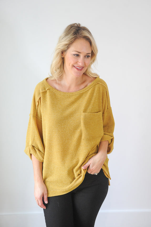 My Way Chartreuse Lightweight Sweater