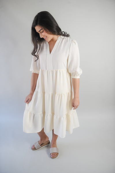 Noah Tiered Midi 3/4 Sleeve Dress