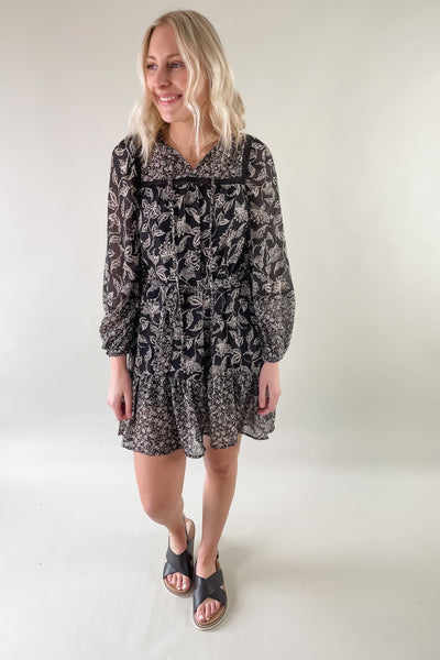 Black Multi Print Long Sleeve Dress