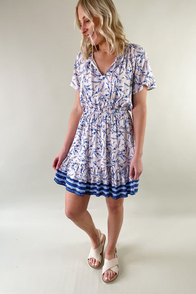 Matilda Blue Border Print Dress
