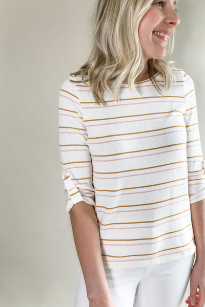 Julie Ivory Stripe 3/4 Sleeve Top