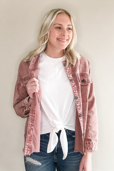 Marsala Denim Jacket