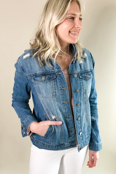Dark Washed Distressed Denim Jacket