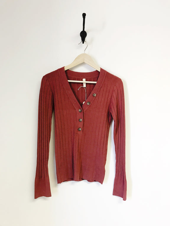 Bette Wide Ribbed Button V-Neck Sweater