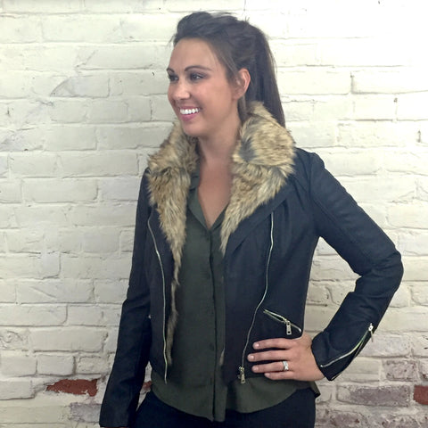 The Lowdown Black Faux Leather Bomber Jacket