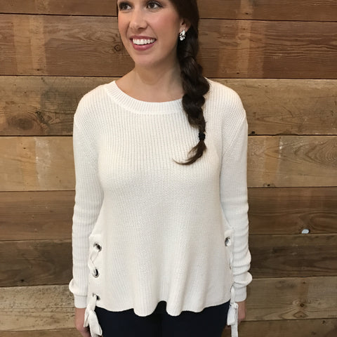 Beth Ivory Side Lace Sweater