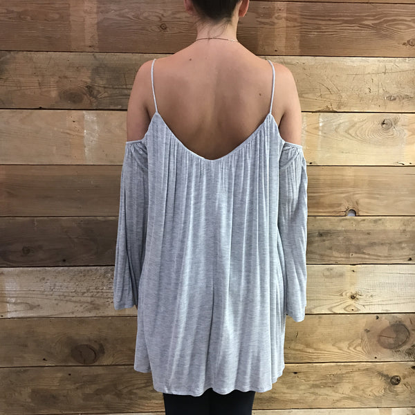 Senorita Cold Shoulder Grey Top