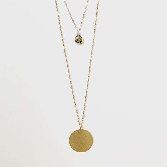 Double Layer Gold Pendant Necklace