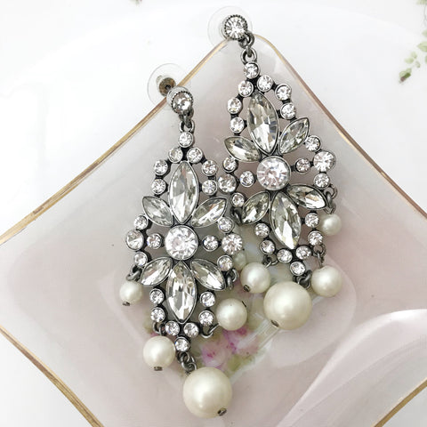 Crystal & Pearl Chandelier Earrings
