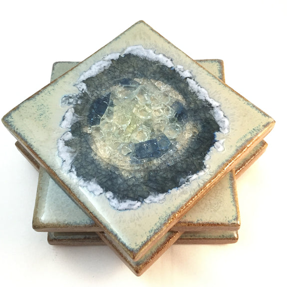 Natural Stoneware Coaster Set