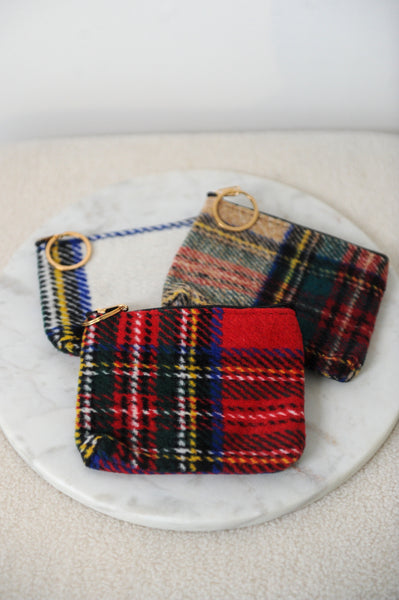 Plaid Pouch with Key Ring