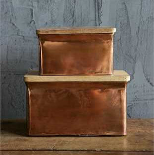 Set of 2 Copper Boxes with Wood Lids
