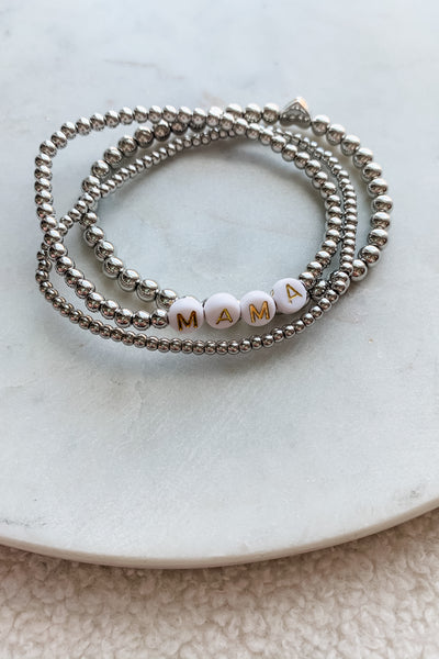 Silver Beaded Heart Stretch Bracelet Set