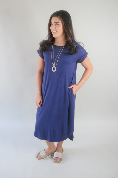 Tarah Rolled Sleeve Midi Dress
